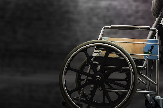 Wheelchair for disabled person as accident safety concept