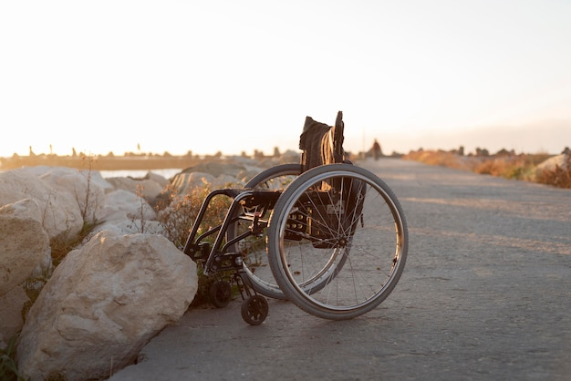 Wheelchair lifestyle concept at beach