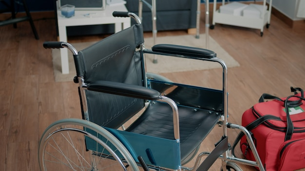 Wheelchair and medical bag in nursing home facility