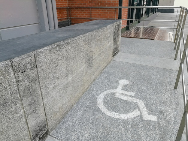 Wheelchair ramp way support for disabled person