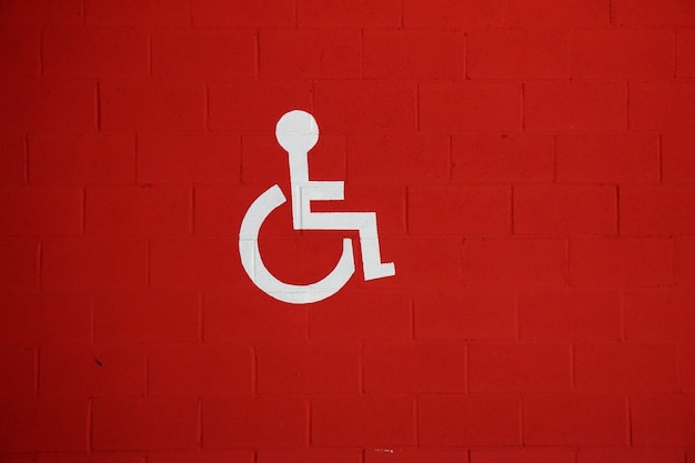 Wheelchair traffic sign in the street, traffic signal in the city
