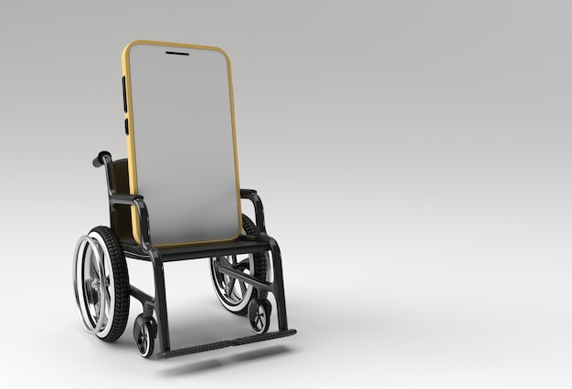 Wheelchair with blank smartphone isolated. 3d rendering illustration.