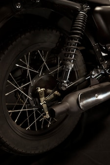 Wheels of a cafe racer style motorbike