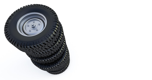 白で隔離される車輪。冬用タイヤ。 3dレンダリング