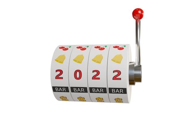 Колеса игрового автомата с номером 2022 на белом фоне. новогодняя концепция.