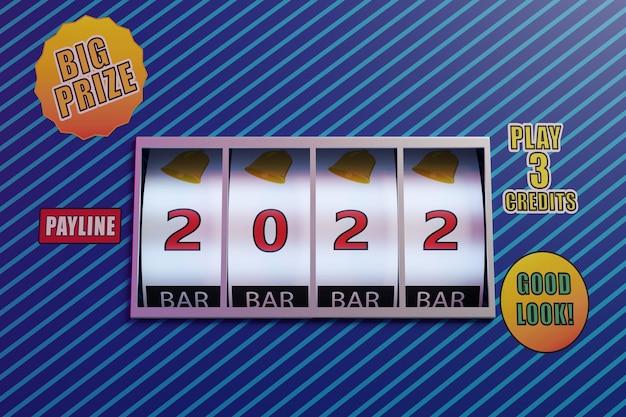 Колеса игрового автомата с номером 2022. новогодняя концепция.