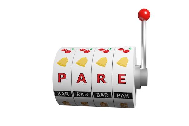 Колеса игрового автомата с надписью «стоп» на испанском языке. понятие игровой зависимости.