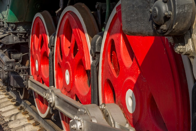 Wheels of old steam train