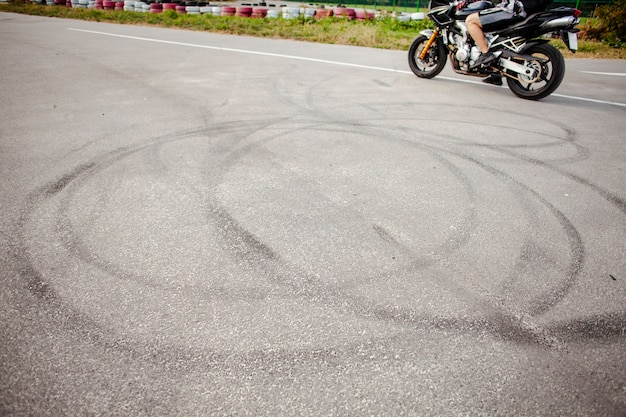 Wheels track of the motorbike after a drif