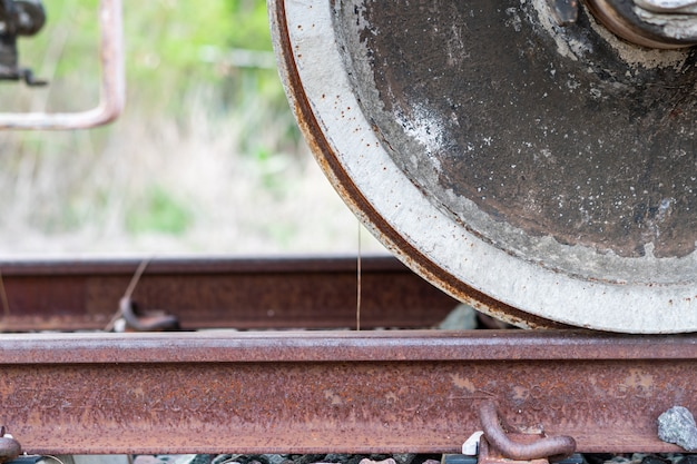 The wheels of the train that are worn by use and weather conditions