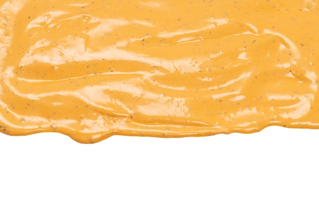 Взбитые вкусные брызги соуса, изолированные на белом фоне. предпосылка соуса гамбургера.