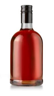 Пустая бутылка виски на белом