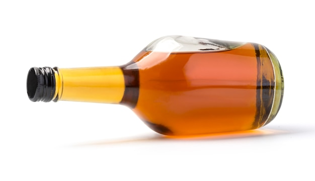 Whiskey bottle isolated on white background with clipping path