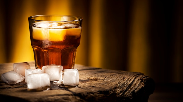 Whiskey cocktail with ice