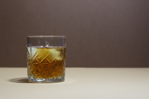 Whiskey in a glass. alcoholic beverages