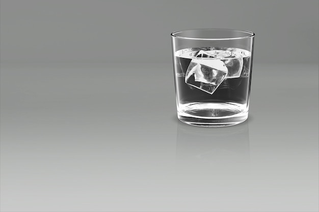 Whiskey glass scotch bourbon creative isolated on white 3d rendering