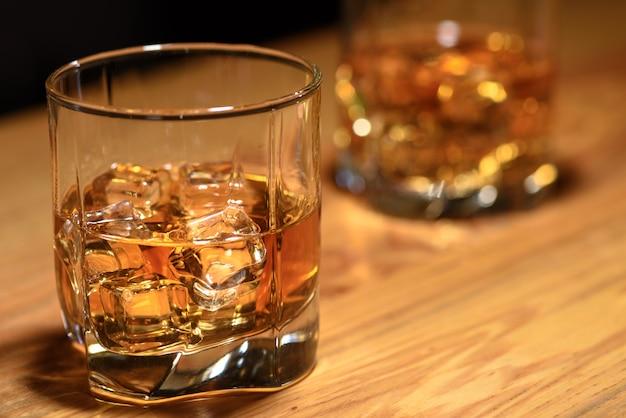 Whiskey glasses on the bar