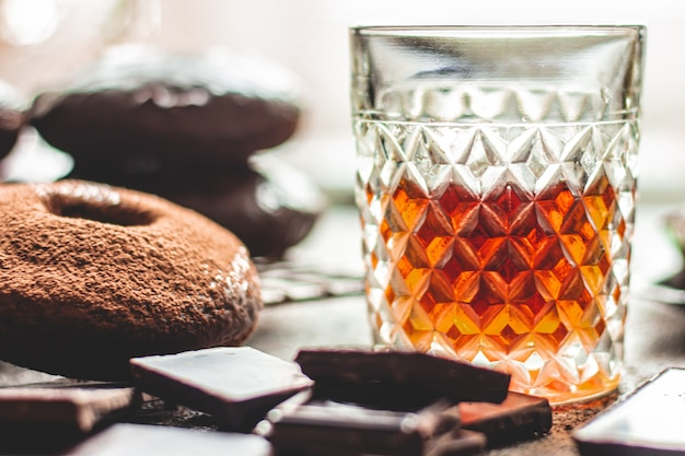 Whiskey and homemade chocolate donuts