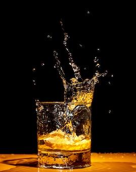 Whiskey splash from the glass