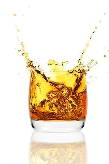 Whiskey on white wall