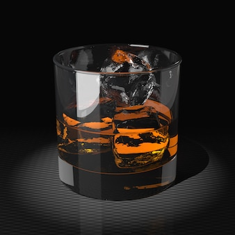 Whiskey with ice cubes in a tumbler glass