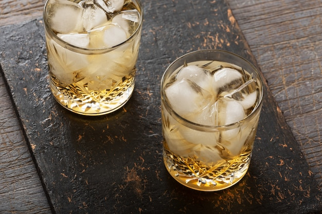 Whiskey with ice in an old fashioned glass
