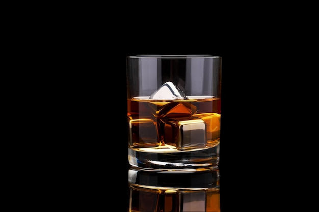 Whiskey with steel cooling cubes in glass