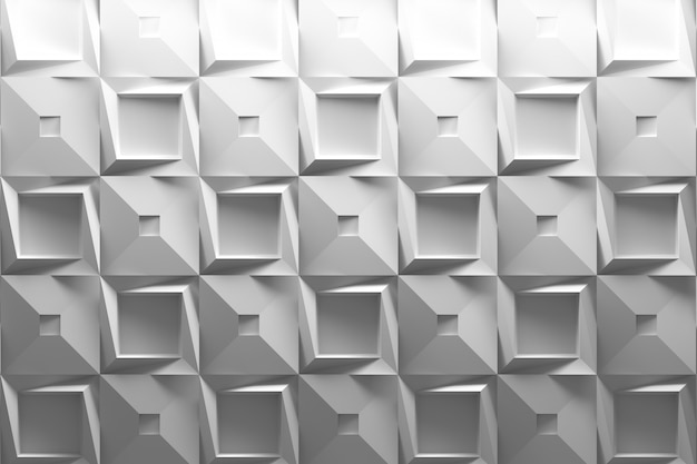 White 3d background with low poly geometric square tiles