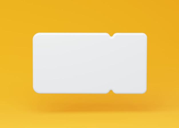 노란색 배경에 흰색 3d 쿠폰 프레임 빈 양식이 있는 쿠폰 티켓의 그림