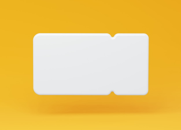 White 3d coupon frame on a yellow background illustration of a coupon ticket with an empty form