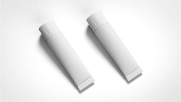 Белая глянцевая пластиковая трубка 3d для медицины или косметики
