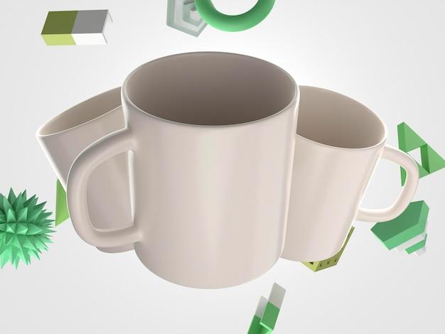 ハンドル付きの白い3dマグカップ