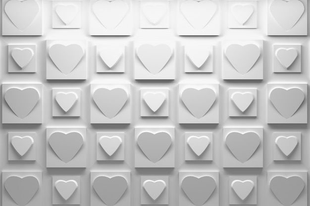 White 3d pattern with repeating square tiles with hearts