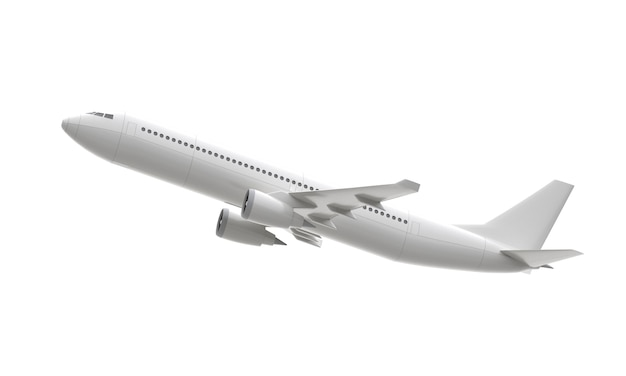 White 3d plane take off isolated on white surface. 3d rendering
