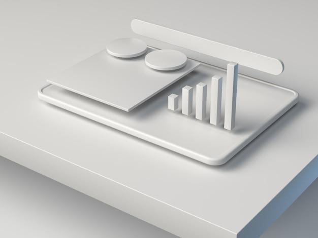 Белый 3d рендеринг абстрактный график бизнес