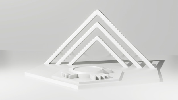 White 3d rendering background with white plinth and abstract background wall scene geometry awards platform on modern website.