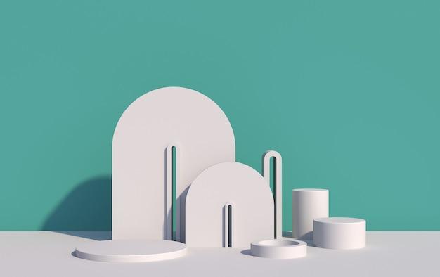 파란색 배경에 아트 데코 스타일의 제품 데모를위한 흰색 3d 장면, 3d 렌더링