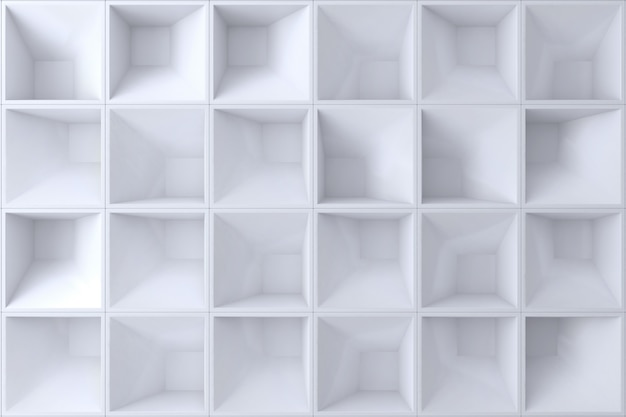 White 3d wall square shape for background.