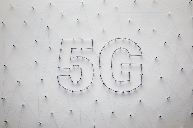 White 5g technology background