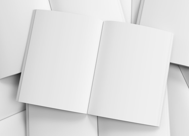 White a4 magazine blank model top view mockup