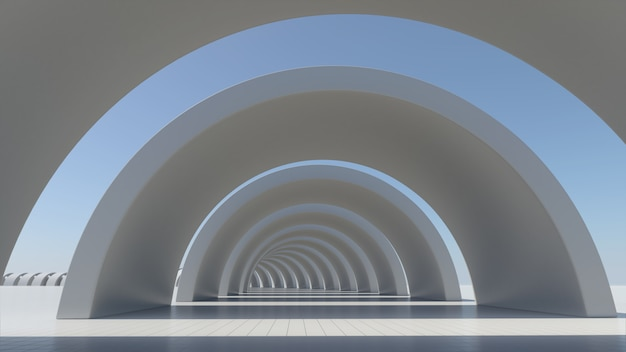 White abstract architecture, empty space, 3d render.