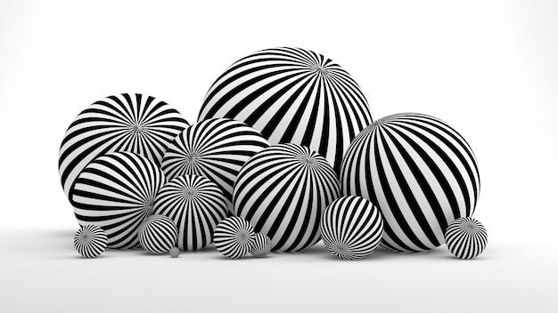 공 및 검은 선 흰색 추상적 인 배경. 3d 렌더링.
