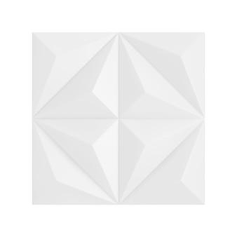 흰색 배경에 흰색 추상적인 기하학적 다각형 피라미드 벽 패널 세그먼트입니다. 3d 렌더링