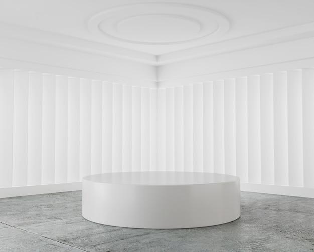 White abstract mockup scene podium display product stand