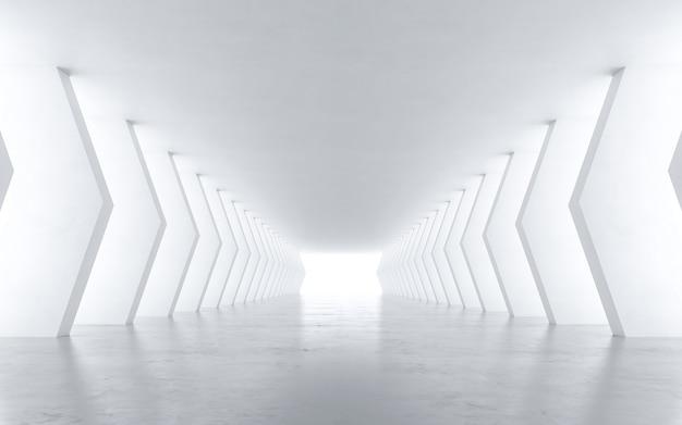 흰색 추상 터널. 3d 렌더링