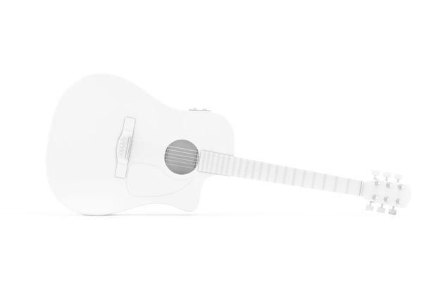 흰색 배경에 클레이 스타일의 흰색 어쿠스틱 기타. 3d 렌더링