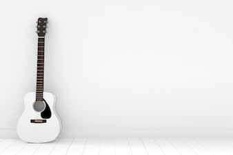 White acoustic guitar in empty white room in 3D rendering