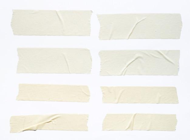 Набор белой клейкой ленты, изолированные на белом фоне