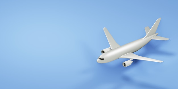 White airplane on blue background with copy space. 3d render