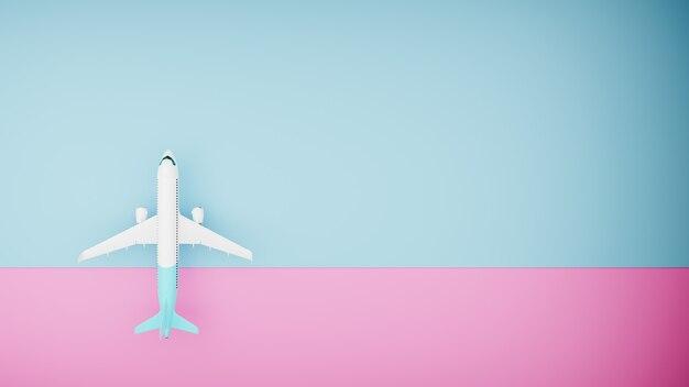 파란색과 분홍색 배경에 흰색 비행기, 위쪽 보기. 3d 렌더
